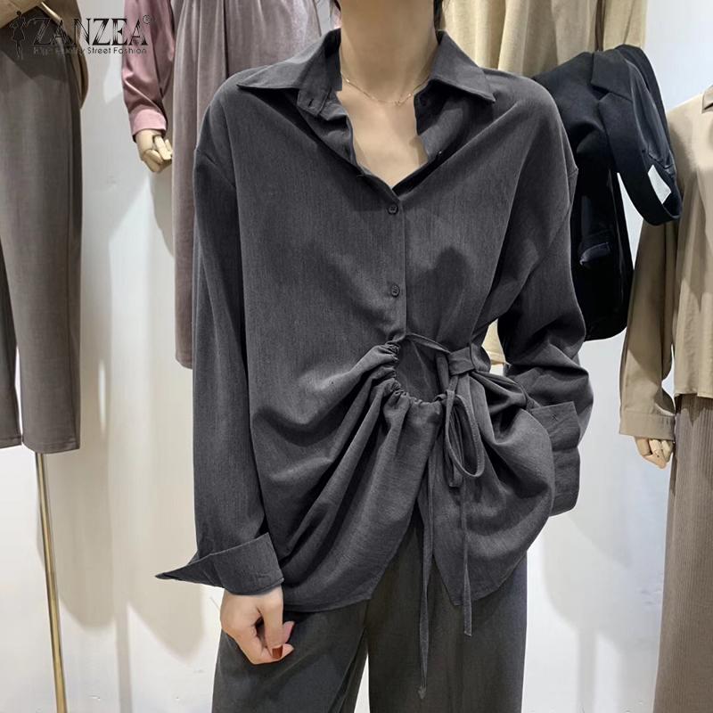Plus Size Women's Irregular Blouses Elegant Lapel Shirt 2020 ZANZEA Casual Long Sleeve Blusas Female Button Lace-Up Top Chemise