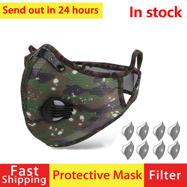 Reusable Respirator Anti Protection Flu Mask Droplets Face Mask Filter PM2.5 Anti-fog Breathable Dustproof Bicycle PM25 Dust