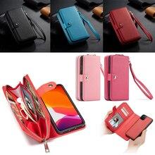 سستة محفظة جلد حالة ل أبل فون 11 برو ماكس Xs X Xr 8 7 6 6S زائد 5 5s SE يد الحقيبة جراب هاتف فليب غطاء