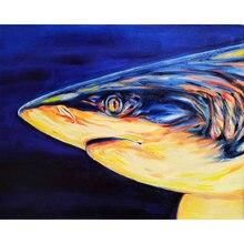 Diy картина по номерам с акулой комплект маслом на стену для
