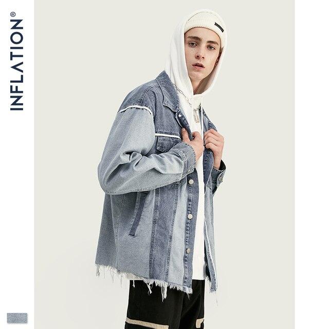 אינפלציה ינס גברים מעיל Loose Fit Mens דן מעיל פוקר גברים Streetwear ינס מעיל ב Stonewash כחול 9717W