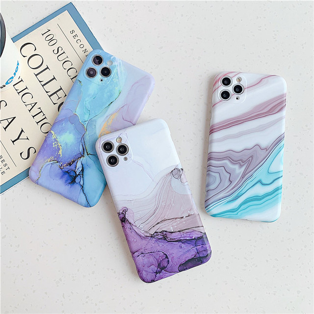 Ottwn Fashion Matte Marble Texture Stone Phone Case For iPhone 11 11Pro Max X XR XS Max 7 8 Plus Soft IMD Silicone Back Cover