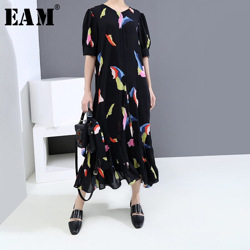 [EAM] Women Black Pattern Printed Ruffles Long Dress New V-Neck Half Sleeve Loose Fit Fashion Tide Spring Summer 2020 1U114