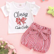 Cute Baby Girl Outfits Set Ruffle Short Sleeve Kids Clothing For 2Pcs Tops Tee+Striped Shorts Summer Toddler D30
