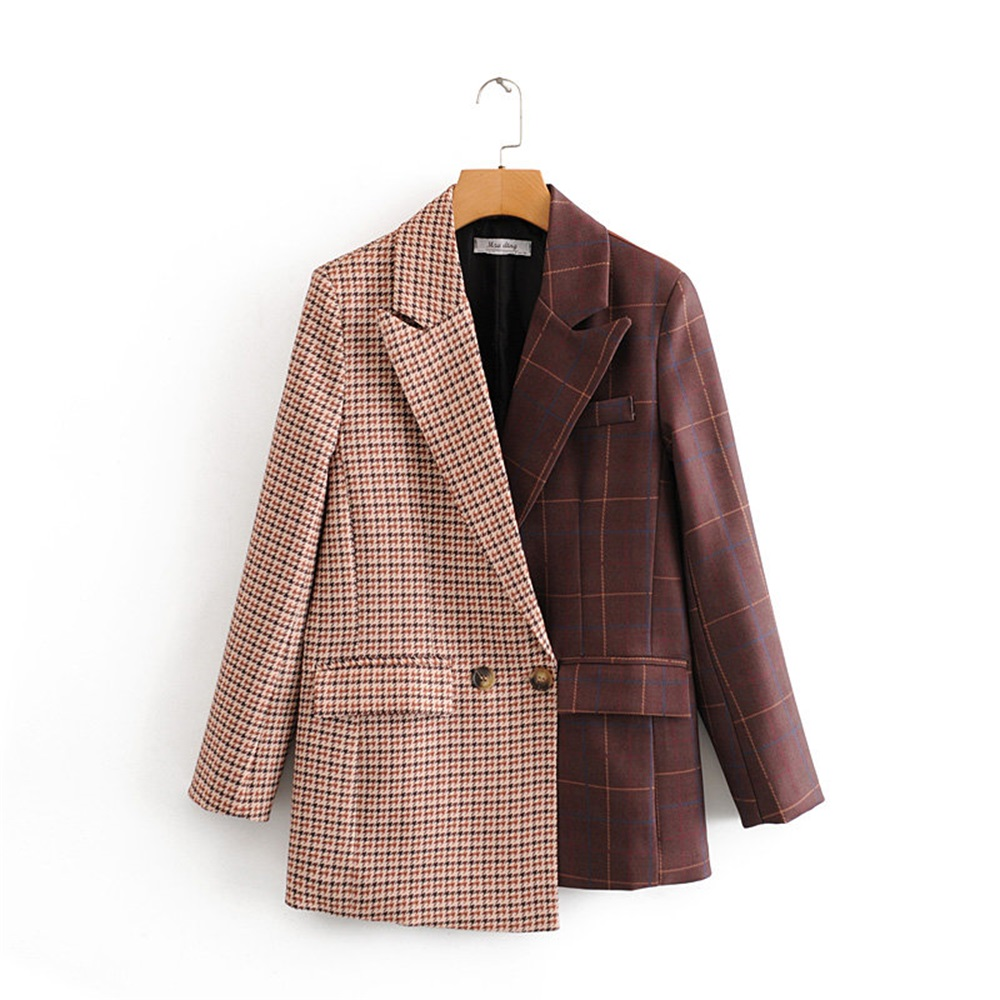 2020 Spring Women's New Retro Fashion Lapel Small Suit Loose Houndstooth Color Matching Asymmetric Suit Jacket
