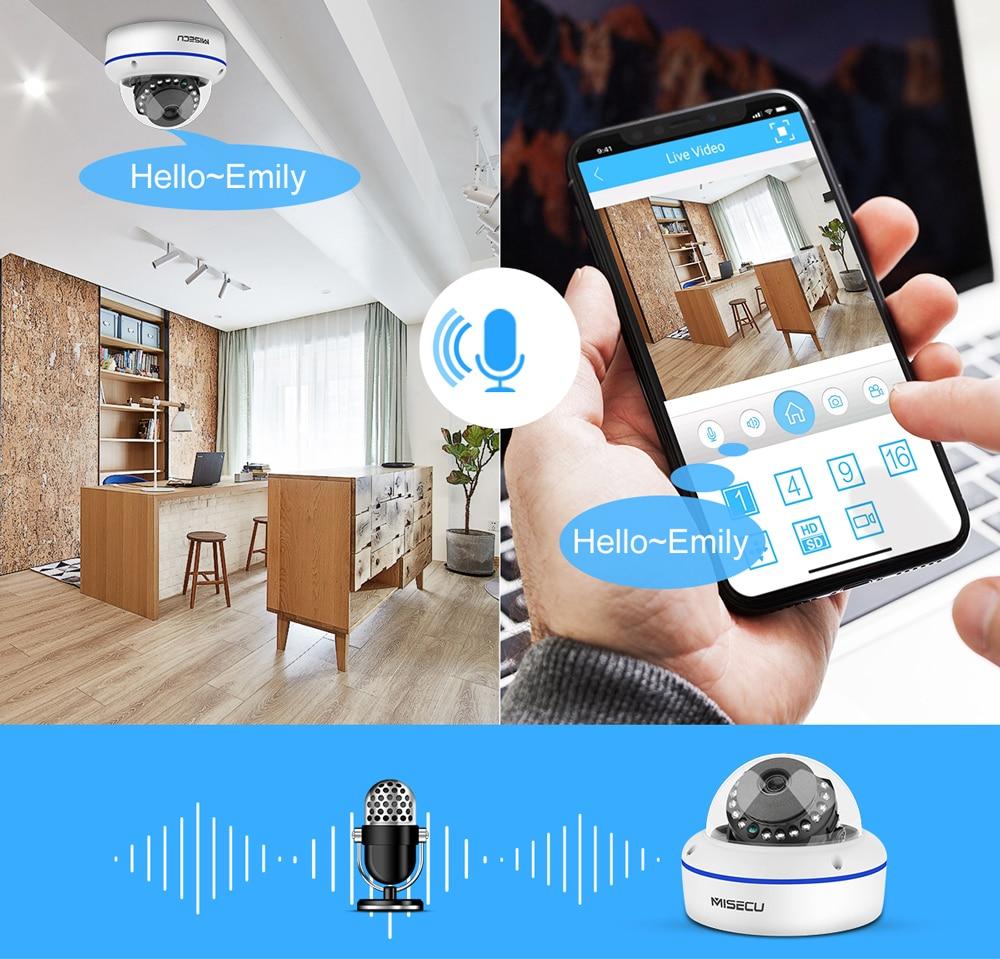 Hbc509fbfb9c64fa9931f87648234b531B MISECU Super HD 5MP 4MP 2MP Surveillance IP POE Camera 1080P Audio Microphone Dome Indoor Security Camera Email Push ONVIF P2P