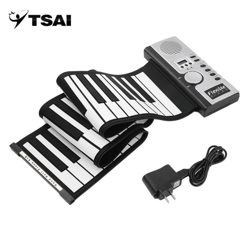 Piano de Teclado Preto e Branco com 61 Tsai Universal Teclado Virtual Teclas