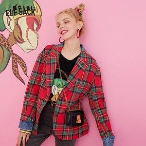Image 3 - ELFSACK Plaid Patchwork Denim Blazer Women 2019 Autumn Korean Style Female Blazers And Jackets Streetwear Office Ladies Outwear