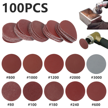 100PC 2inch Sandpaper Disc Sand Sheets Grit 80-3000 Hook and Loop Sanding Disc Polish Sandpaper Rotary Tool Accessories tool tool lateralus 2 lp picture disc