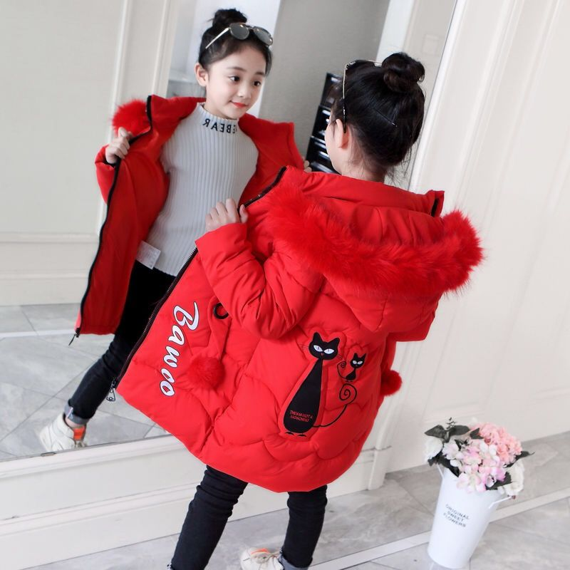 Girls Down Jackets Baby Warm Clothing Thick Coats Children's Winter Jackets Kids Cute Cat Cartoon Embroidery Winter Outerwear