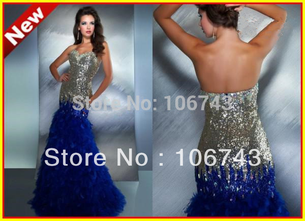 Free Shipping Luxury Crystal Feather Strapless Mermaid Sequins Floor Length Evening Prom Formal Gowns Prom Dress Bride Dress