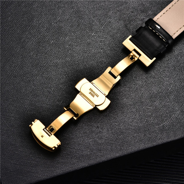 Smooth Calfskin Leather Watchband Butterfly Buckle 6