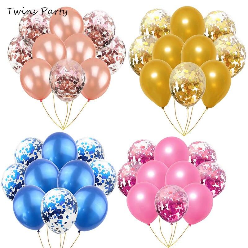 Twins Party 10Pcs 12inch Rose Gold Confetti Balloons Wedding Decor Birthday Baloon Helium Air Ball