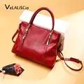 VELALISCIO New Fashion Soft Real Genuine Leather Tassel Women Handbag Elegant Ladies Hobo Shoulder Bag Messenger Purse Satchel