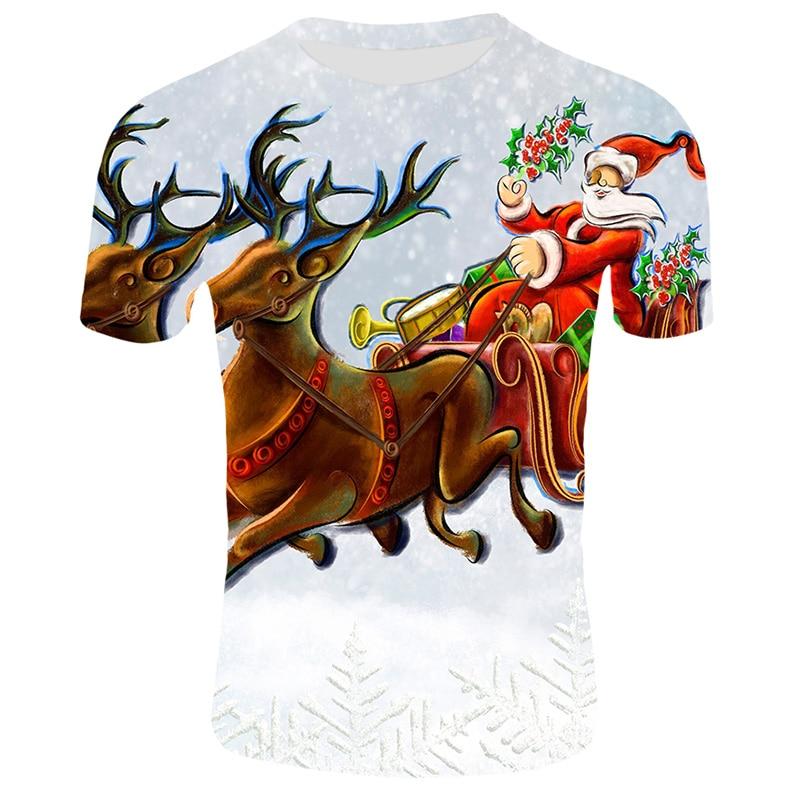 Модные футболки с рождественским узором, мужские Забавные футболки с принтом Санта-Клауса, повседневные 3d футболки, вечерние футболки со снеговиком, одежда с коротким рукавом - Цвет: T34