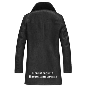 Image 2 - Gours Winter Genuine Leather Jackets Men Fashion Black Real Shearling Sheepskin Long Coat with Natural Mink Fur Collar GSJF1927