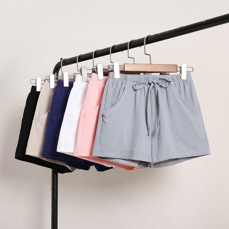 Loose Shorts Female Summer Thin Section Cotton And Linen New Solid Color Pants Korean High Waist Large Size Casual