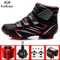 TIEBAO, зимняя велосипедная обувь MTB, добавить педаль SPD cleat, набор, Pro, мужские кроссовки, wo, Мужская обувь для горного велосипеда, самоблокирующа...