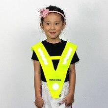 Детский светоотражающий жилет, открытый, высокая видимость, свободный размер, v-образный, для бега, велоспорта, полиэстер, для прогулок, безопасности дорожного движения