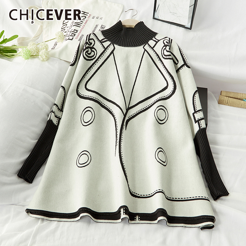 CHICEVER Print Hit Color Women's Cloak Sweater Turtleneck Batwing Sleeve Oversize Knitted Female Pullovers 2020 Autumn Fashion