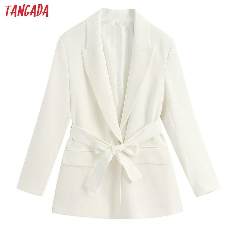 Tangada Women White Blazer With Slash Long Sleeve Elegant Jacket Ladies Work Wear Blazer Formal Suits BE331
