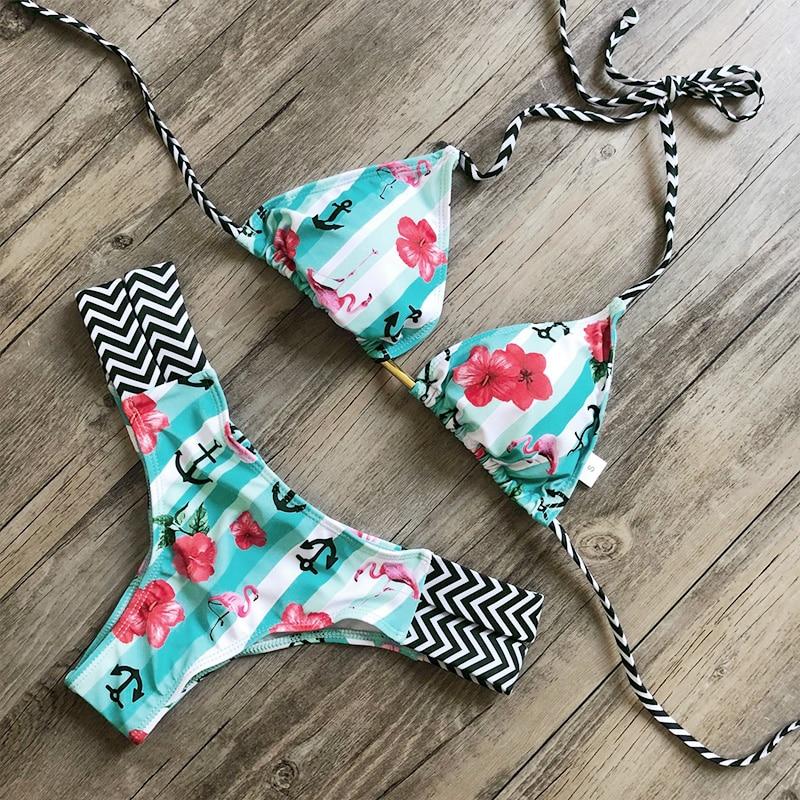 Zrtak Brazil Free Shipping Bikinis Female 2019 Print Biquini String Swimsuit Women'S Beach Aquatics Brazilian String Bikini Set