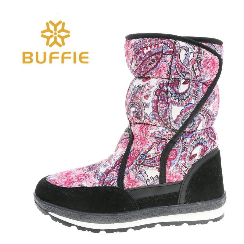 BUFFIE rose fleur chaussures d'hiver Style russe nouveau faire des bottes de neige fausse fourrure à l'intérieur TPR semelle extérieure mi-culf hauteur JSH-HB628