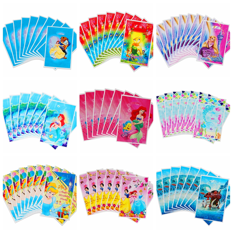 50pcs/lot Little Mermaid Theme Party Gift Bag Wedding Birthday Party Decor Plastic Candy Bag Loot Bag Baby Shower Party Supply