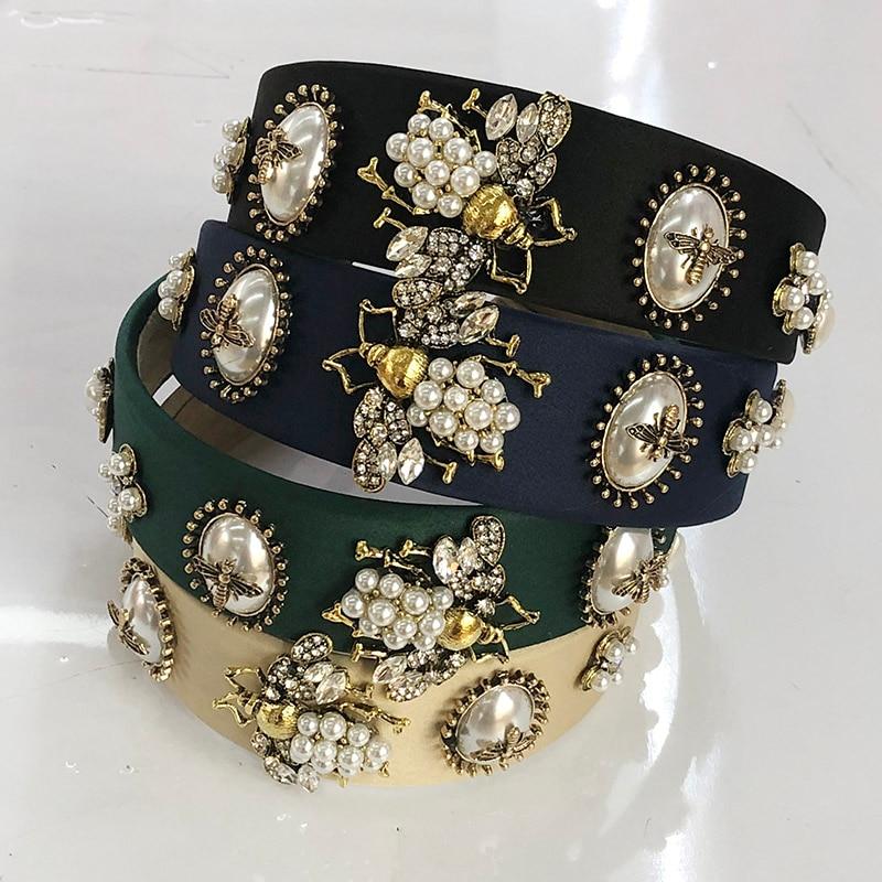 Повязка на голову Стразы в стиле барокко, повязка на голову для женщин и девушек, металлические бусины в форме пчелы, аксессуары для волос