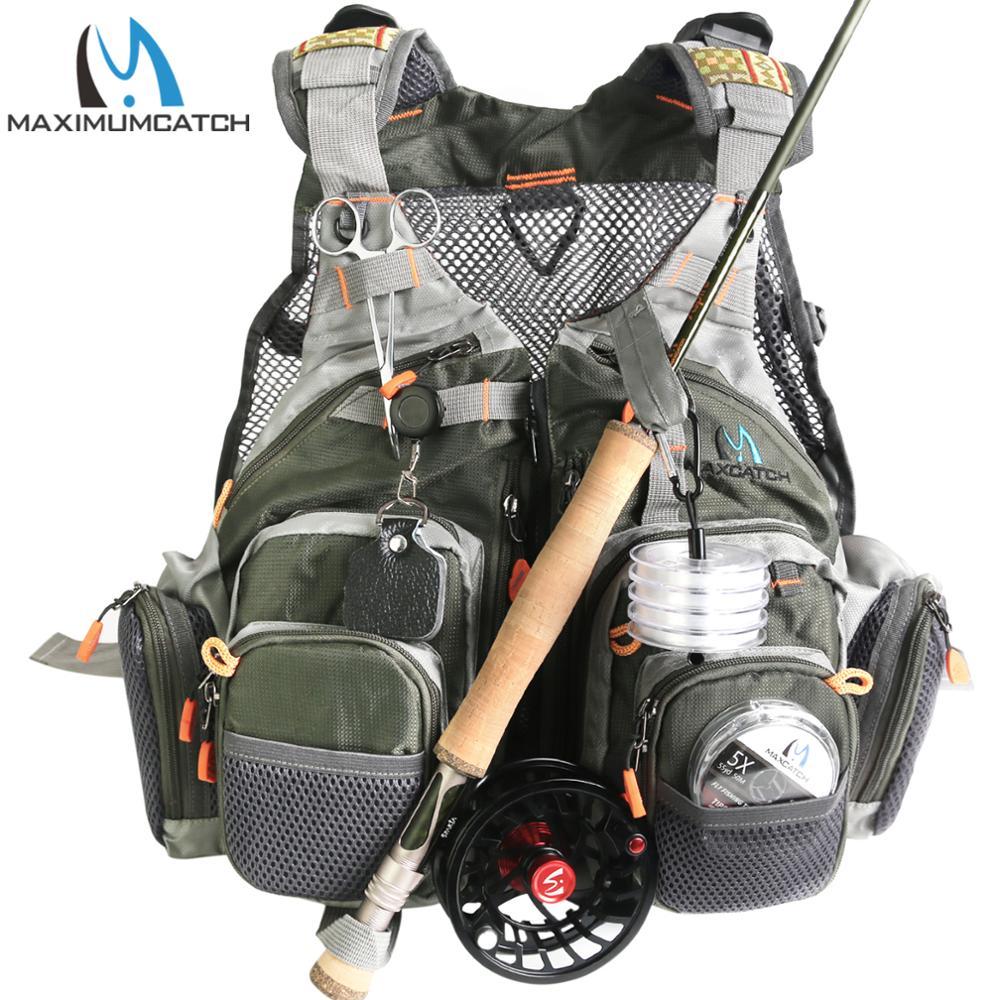 maximumcatch fly colete de pesca com bolsos multifuncionais ajustavel tamanho de malha mochila de pesca com