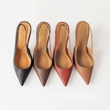 Primavera outono rasa boca bombas sexy apontou toe volta fivela de salto alto bombas sandálias de verão 8 cm 6 cm sapatos femininos