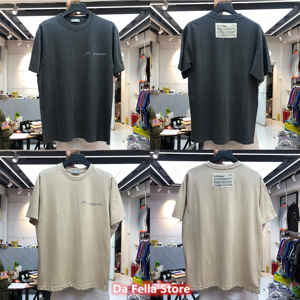 A COLD WALL* Tee 2020 New Classic A-COLD-WALL* T-shirt Men Women Vintage Grey Apricot Color ACW T-shirts Back Labeling ACW Tops