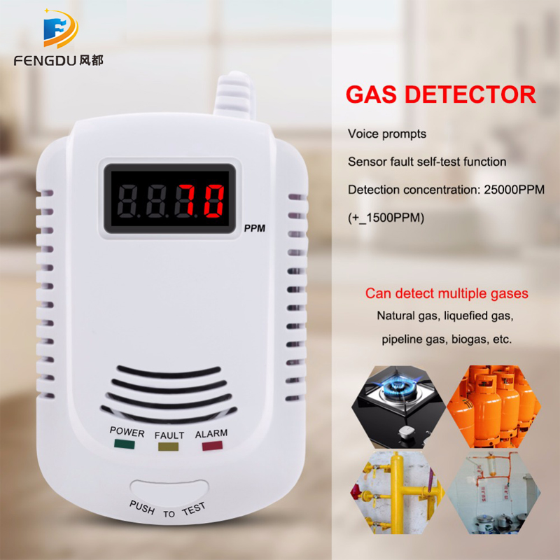 Wired Gas Detector Combustible Gas Sensor Gas Leakage Alarm Tester Sensor Light Voice Prompt Warning For Home Kitchen
