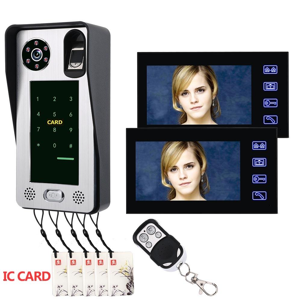 2 Monitors 7 Inch Recording Fingerprint IC Card Video Door Phone Intercom Doorbell Access Control Access System Night Vision