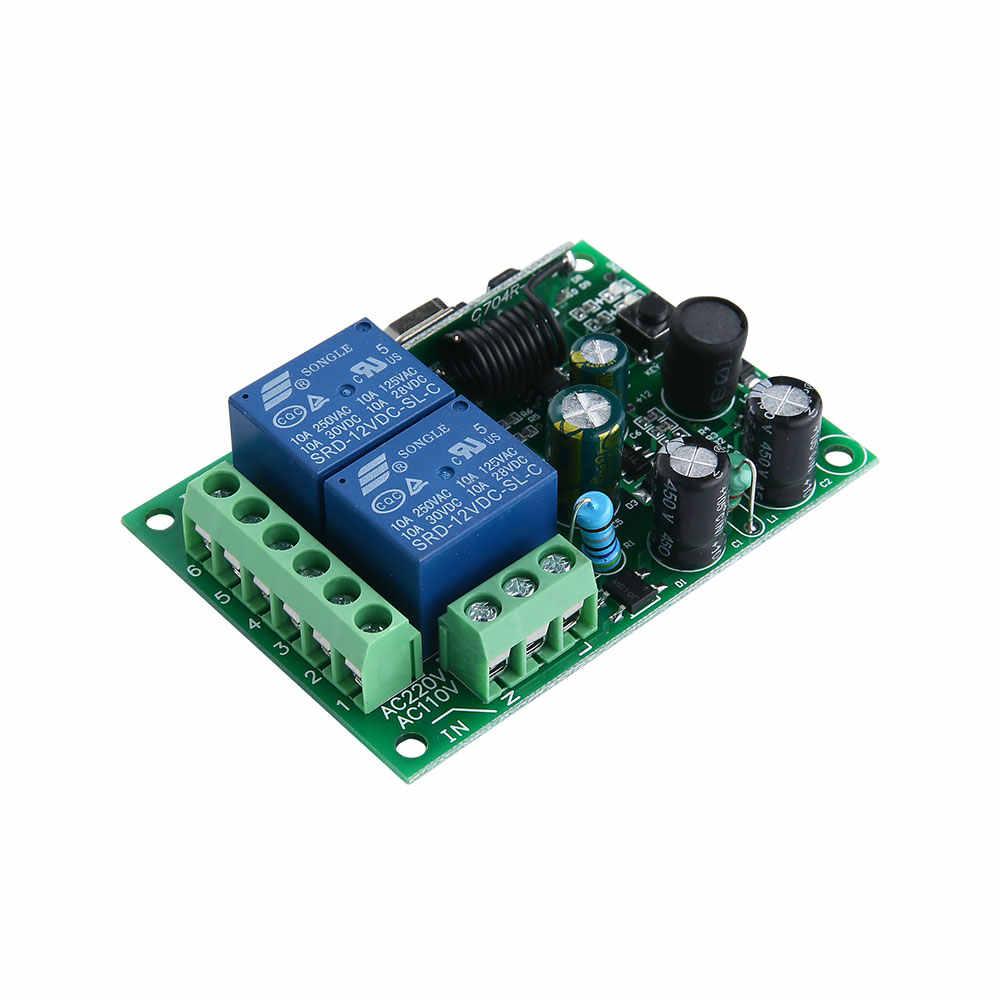 433 Mhz Không Dây Đa Năng Điều Khiển Từ Xa AC220V 110V 2CH Tiếp Module Thu & RF 433 Mhz Cho Ánh Sáng công Tắc Ktnnkg