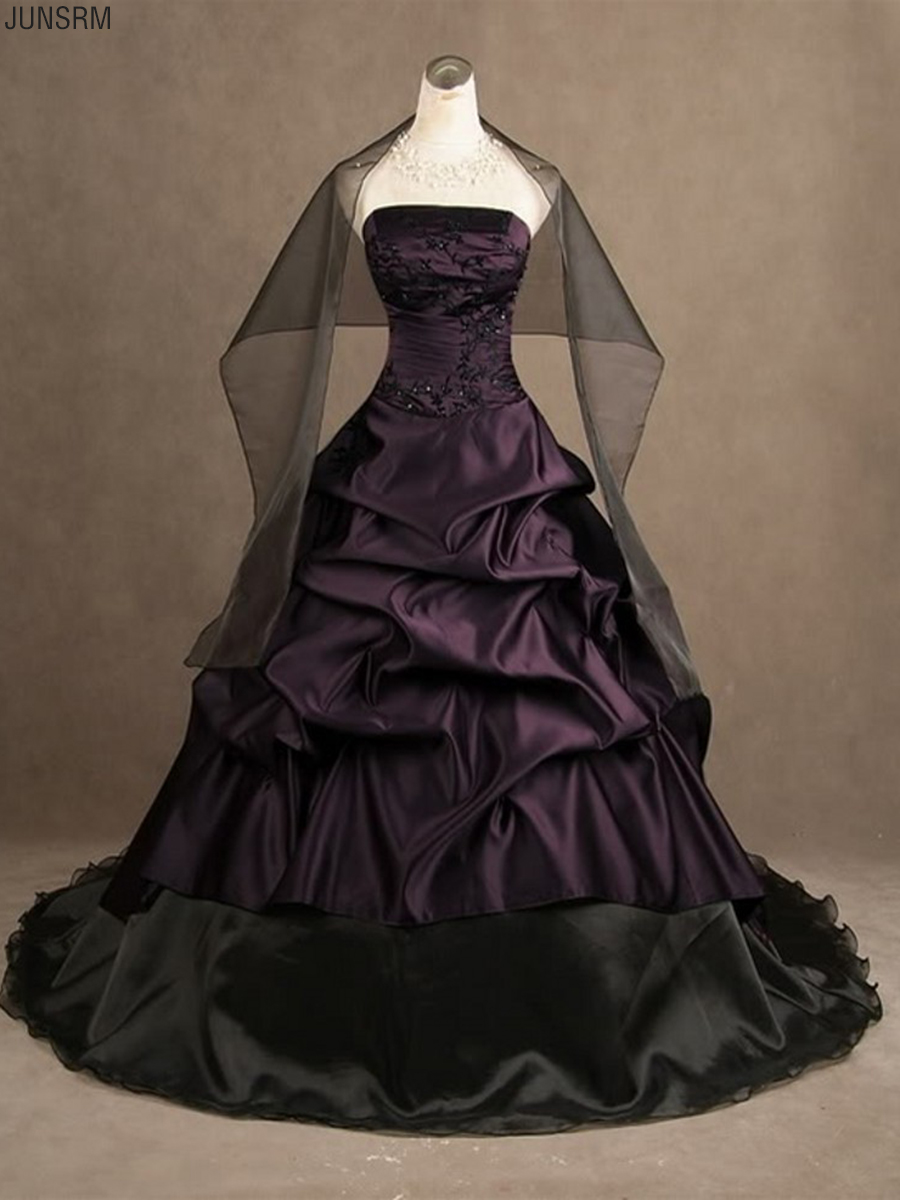 Vintage Embroidery Purple And Black Scarf Taffeta Gothic Sweetheart Strapless Ball Gown Wedding Dress Long Custom Bridal Gowns