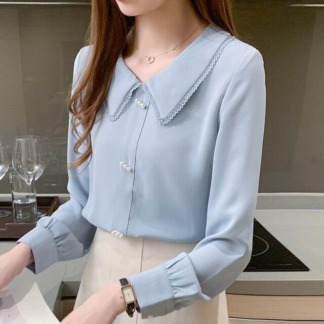 Long Sleeve Chiffon Shirt Doll Collar French Top Korean Fashion New 2020 Loose Professional Shirt Women Blouses 5