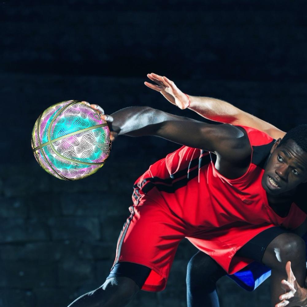HoloHoops holographique brillant réfléchissant basket-ball-illuminer la caméra Flash lueur dans le noir basket-ball cadeaux jouets pour K