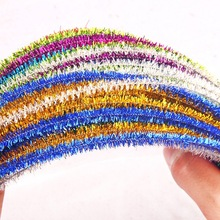 100pcs Glitter Chenille Stems Pipe Plush Tinsel Stems Plush Sticks Kids Educational DIY Toys Handmade Art Craft Materials 100pcs chenille wire plush chenille stems iron wire diy art craft sticks party decor pipe cleaner 6mm x 12inch assorted colors