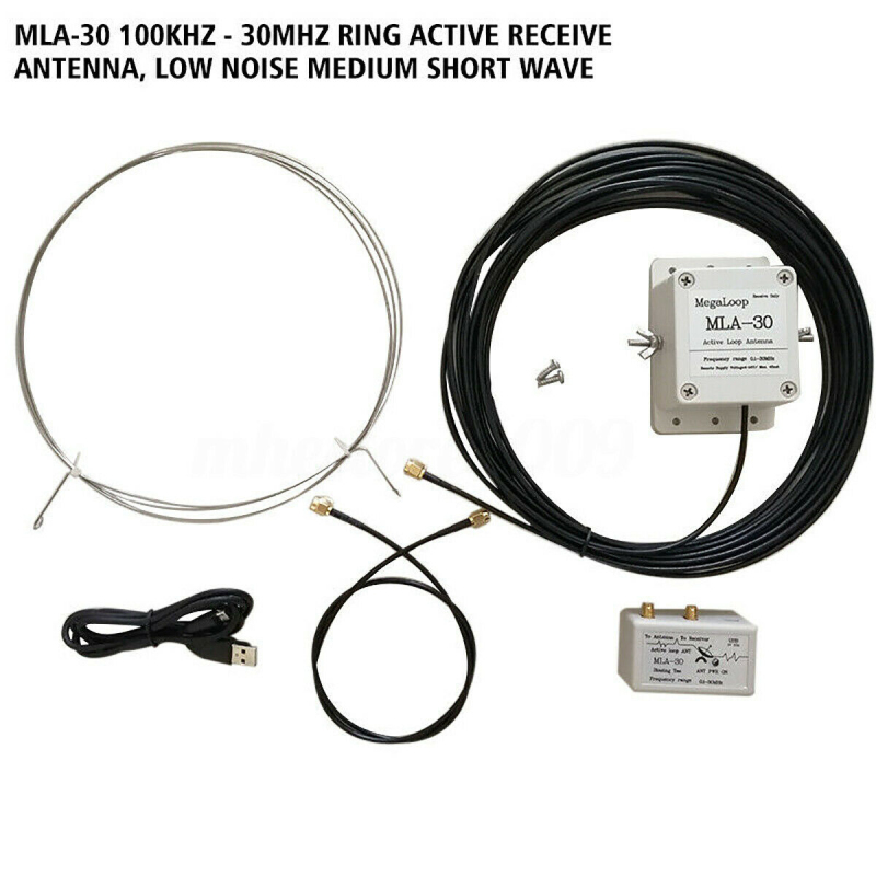 New MLA-30 Ring Active Receive Antenna Low Noise Medium Short Wave Loop Active High Gain 100KHz-30MHz Receive Antenna