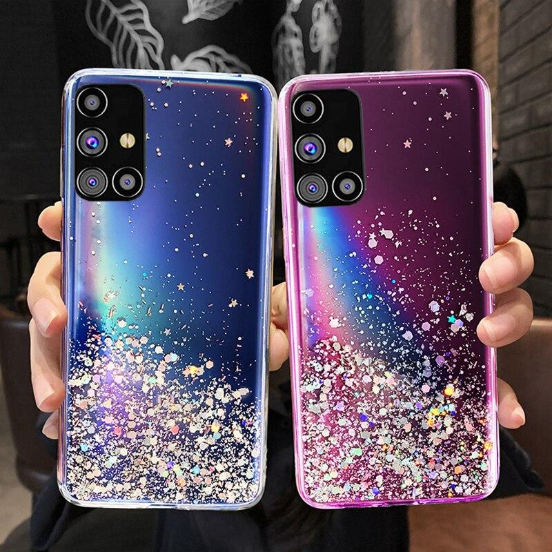 Блестящий чехол со звездами для Samsung Galaxy S20 FE Plus M31S M31 M21 A51 A41 A31 M51 M11 A01 A11 A21S A71 A12 A42, украшение для девочек