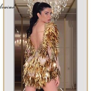 Image 2 - Trung Đông Vàng Bling Kim Sa Lấp Lánh Cocktail Đầm Nàng Tiên Cá Hở Lưng Dubai Dạ Hội Đầm Nữ Đảng Đêm Chiếu Trúc Hạt Áo De Cocktail