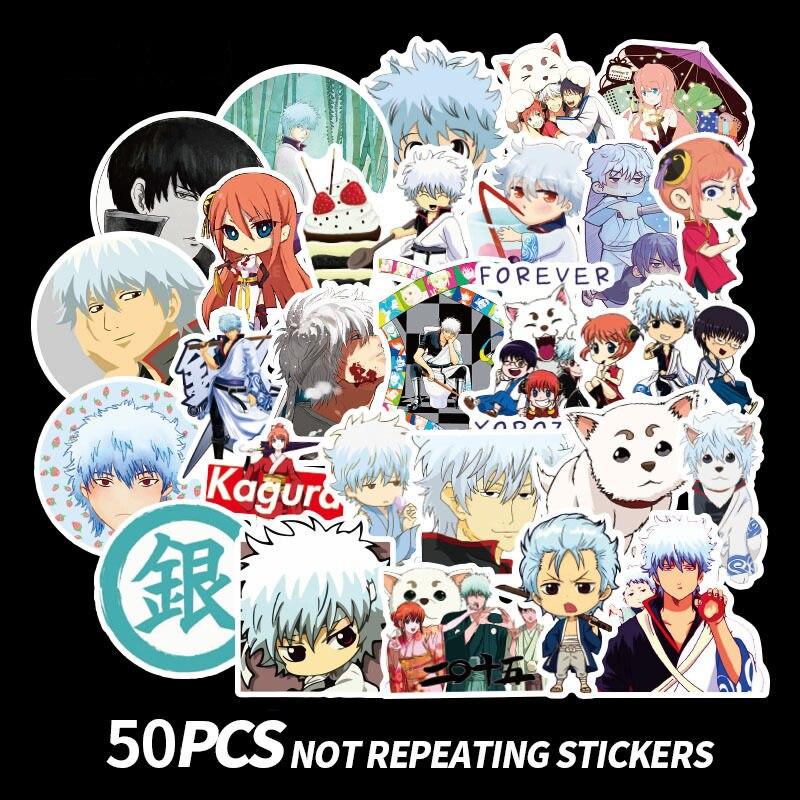 50Pcs Japan Anime Stickers Gintama Anime Sticker Sakata Gintoki Stickers Scrapbooking For Laptop Phone Fridge Scrapbook Sticker
