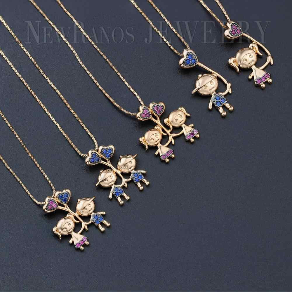 Lovely Girl Boy Pendant Charm Necklace Cubic Zirconia Family Love Little Heart Mom Necklace fr Mother Gift Jewelry PHF001252