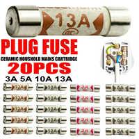 20pcs Mixed Cartridge Ceramic Domestic Fuses 230 V UK Sockets Household Mains Electrical Cartridge Plug Household Tools