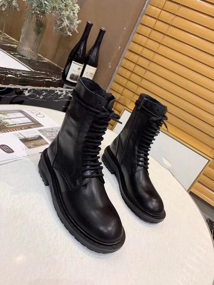 Модная женская обувь ручной работы Ботильоны г. Новые Ботинки martin на толстом каблуке со шнуровкой черные ботинки на молнии