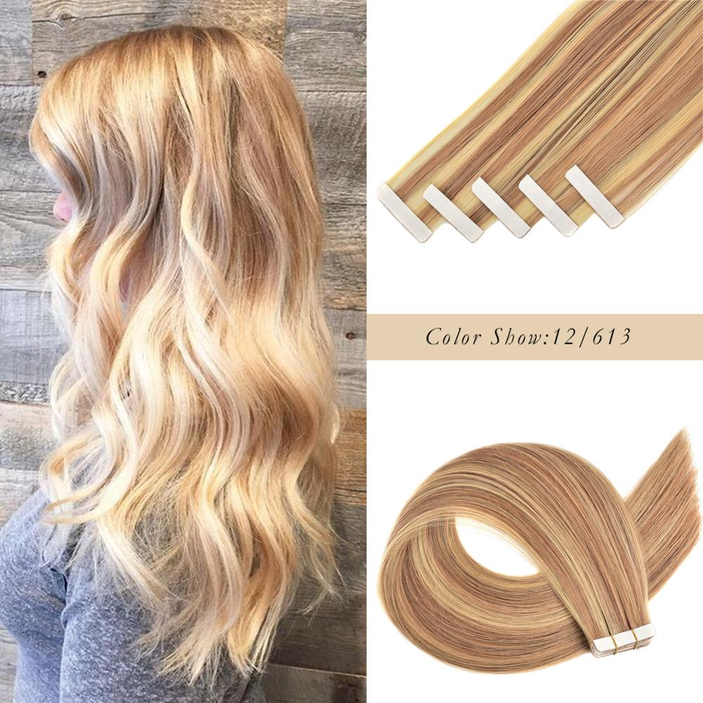 Gazfairy 16''-24''Skin Weft Human Hair Tape In Extensions Natural Color Remy Hair Straight Double Sided Adhesives Hair 20 Pieces