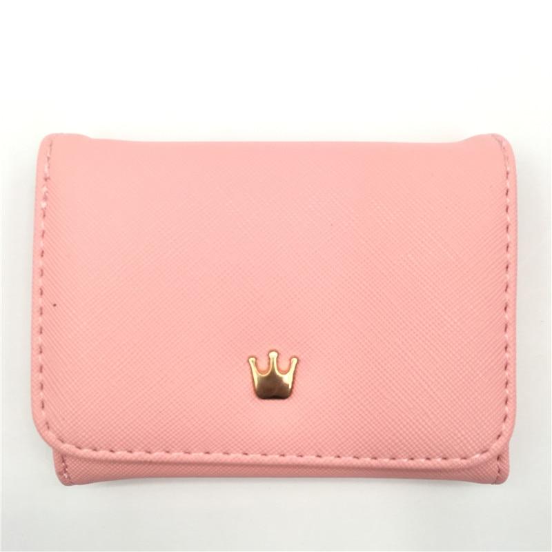 Женский маленький кошелек на молнии, женские короткие кошельки, украшенные короной, Мини кошельки для денег, складные кожаные женские портмоне, держатель для карт - Цвет: Pink