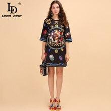 BlackPrinted リンダデラ夏のファッション滑走路ドレスの女性の半分スリーブ天使 LD バックルースヴィンテージドレス