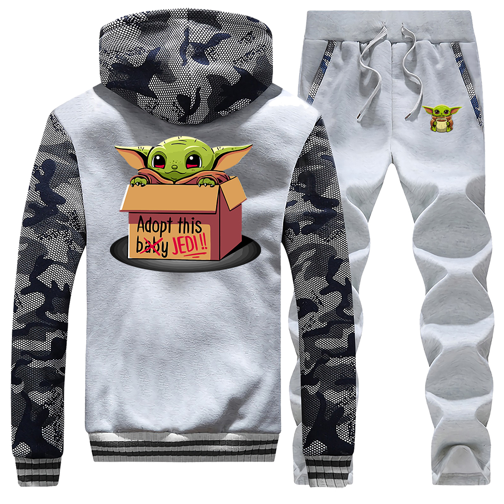 Baby Yoda Adopt This Jedi Tracksuit Thick Fleece Suit 2020 Spring Star War The Mandalorian Cute Suits Hoodies Sweatshirt + Pants